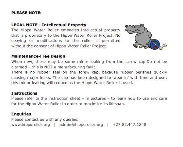 Hippo Water Roller Legal note