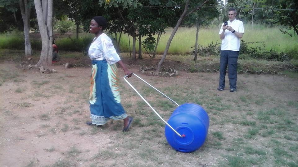 Woman receives Hippo roller at Songa village, Malawi